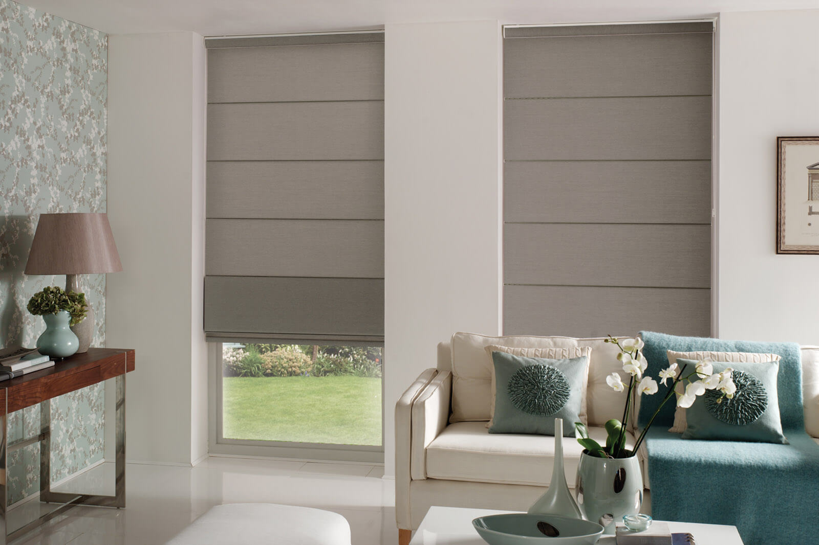 Living Room Picture Bay Window Treatments Grey
