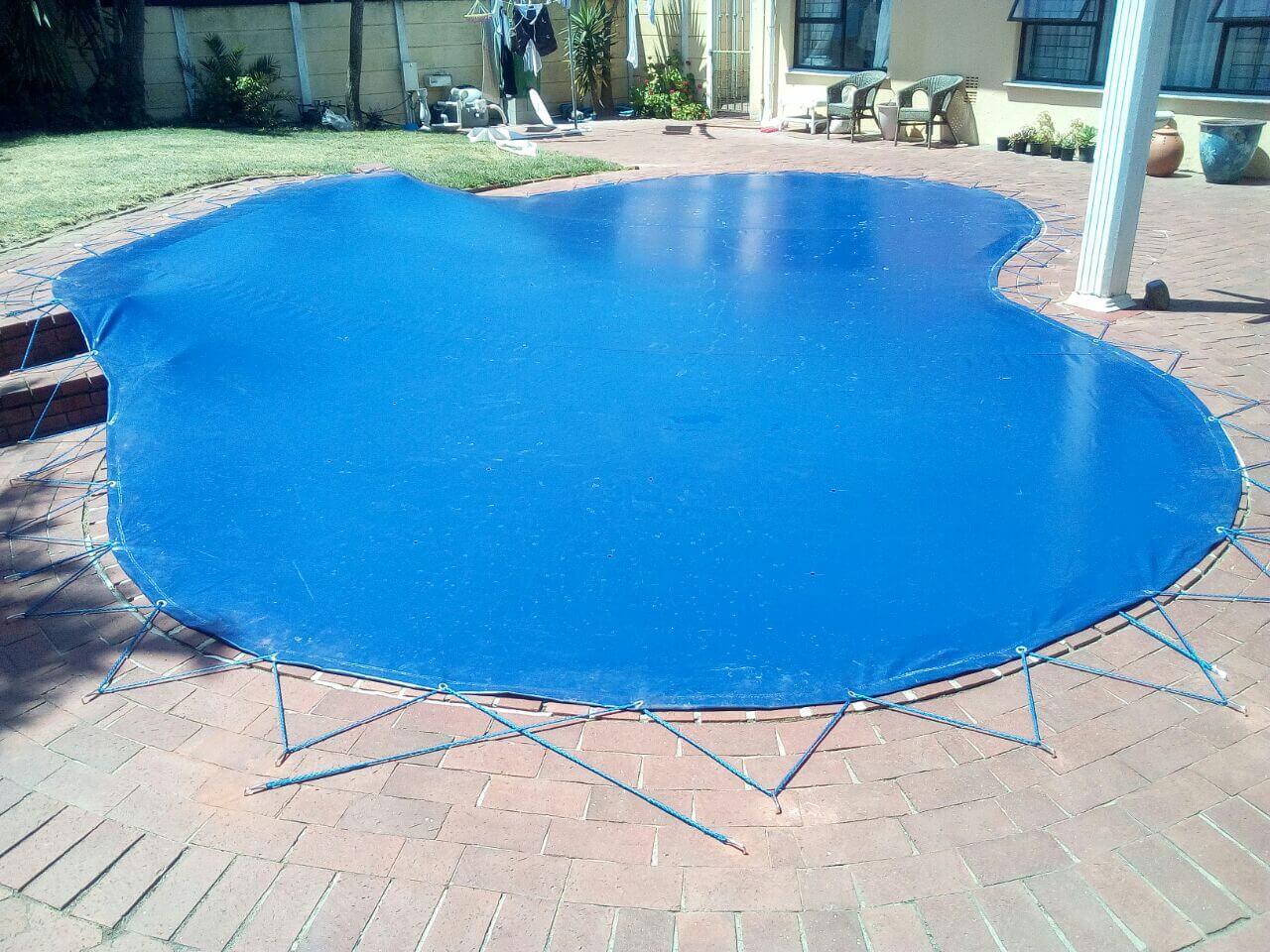 Lace Pool Cover Blue Black Jenna 6 Blinds Exact